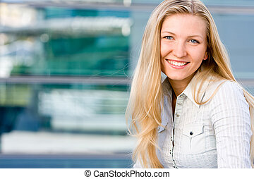 Attractive blonde business woman - Beautiful attractive...