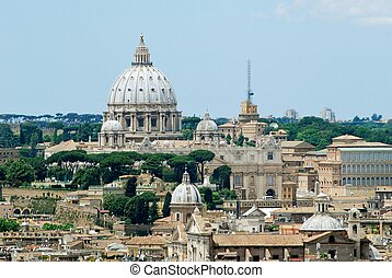 Rome aerial view from Vittorio Emanuele monument Italy