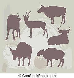 Cow, bull and deer silhouette on grunge background. vector