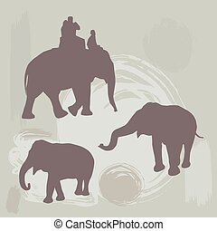 elephants silhouette on grunge background. vector