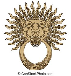 Gold lion head door knocker Hand drawn vector illustration