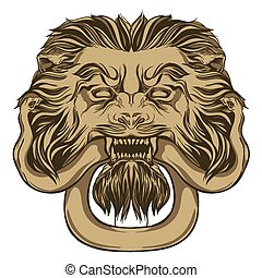 Gold lion holding a snake. Door knocker. Hand drawn vector...