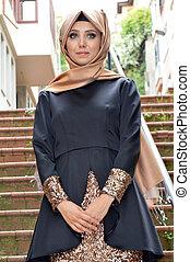 musulmán, joven, mujer,
