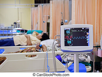Vital signs monitor in hospital infirmary emergency room