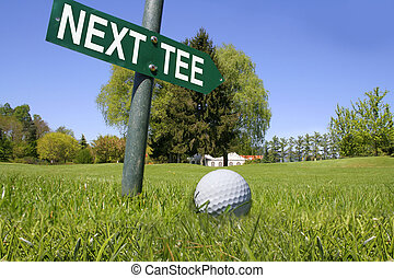 Golf next tee - Golf Banner plate showing in a field the way...
