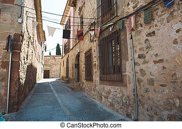 Street in Siguenza, Guadalajara - Typical cobbled street in...