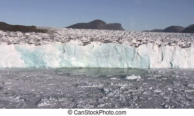 Glacier wall - The front of a huge glacier in Greenland....