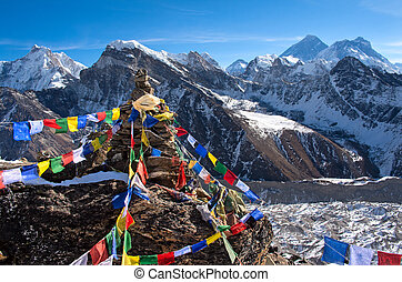 View of Everest from Gokyo ri .