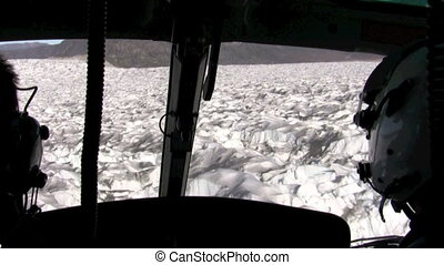 Flying over a glacier