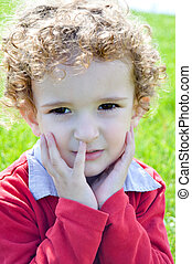 3 year old boy's facial expression - 3 year old red...