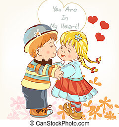 Beautiful Valentine's Day card  with couple of girl and boy hold