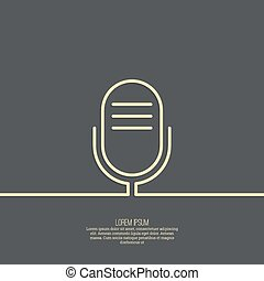 Abstract background with an old microphone. Notification,...