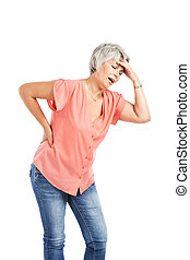 Old woman with a back pain - Portrait of a elderly woman...