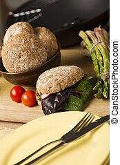 Healthy Burger on Wooden Board Beside Plate