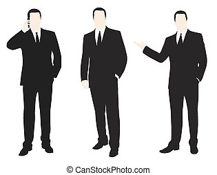 Man in suit on the phone. Vector illustration