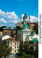 Andriyivskyy Descent - Saint Andrew's Church at the top of...