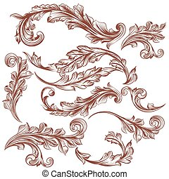 Collection of vector hand drawn flo - Vector set of swirl...