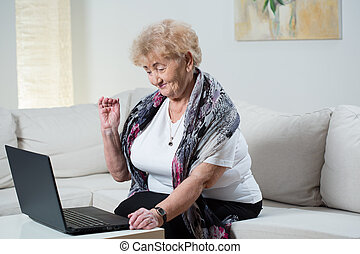 Modern grandma talking on the skype with grandson