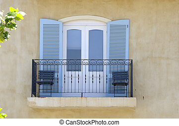 Balcony with balustrade and louvre doors in Hermanus,...