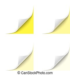 Curled Corner - Curled White Paper Corner with Yellow...