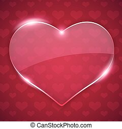 Glass Valentine Heart on Red Background