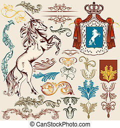 Collection of vector heraldic vintage elements for design -...