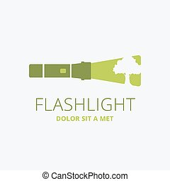 Flashlight - Vector logo template green flashlight Concept...