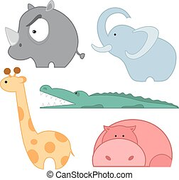 Zoo animals icon set