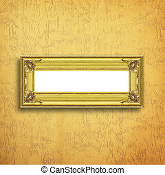 Antique gold frame on paper background