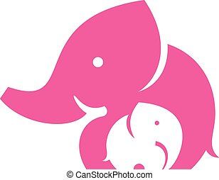 Elephant mom and child. Symbol or l