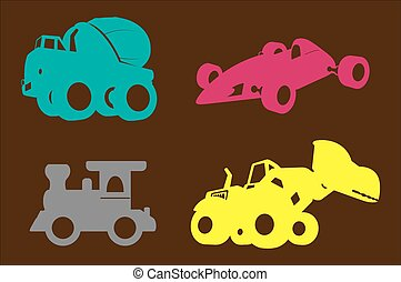 Industrial Vehicles Shapes Vector