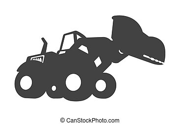 Bulldozer Vector Black Shape - Cartoon Comic Bulldozer...