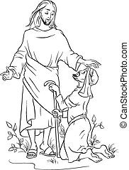 Outlined Jesus healing a lame man - Christian theme. Also...