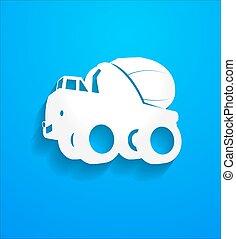 Concrete Mixer Truck Shape Vector - Cartoon Concrete Mixer...