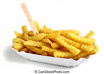 Serrated chips in a tray