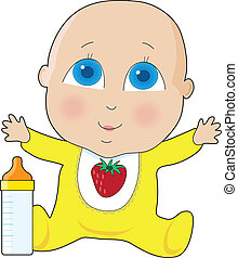 Baby Big Eyes - A baby with big blue eyes in a yellow...