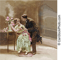Couple of lovers in 1900, the declaration of love...