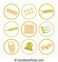 Icons methods of contraception - Set of icons on a theme...