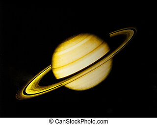 saturn - planet saturn with rings on black background