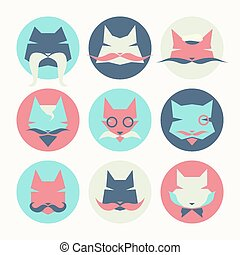 Set of stylized animal avatar bright cats - Stylized animal...