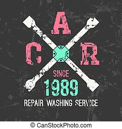 Car service wheel brace emblem in retro style Graphic design...