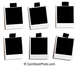 6 variously placed Polaroids with white background