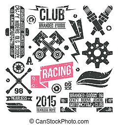 Car racing badges in retro style. Graphic design for...