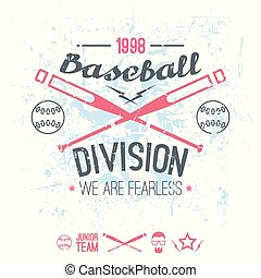 College baseball division emblem. Graphic design for...