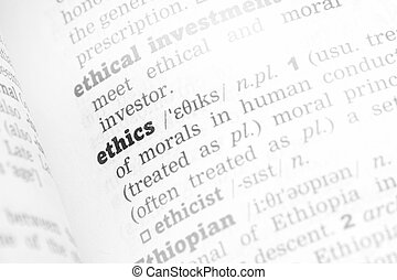 Ethics Dictionary Definition single word with soft focus
