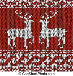 Norwegian pattern - reindeer - vector