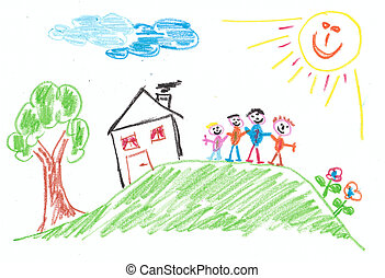 Child's Drawing: Family - imagination of a child