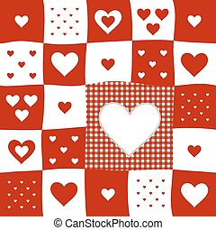 red and white checkered pattern card with hearts