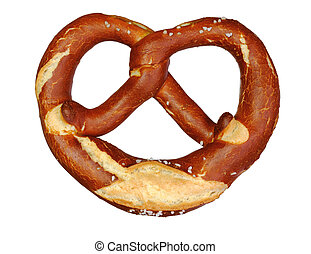 german oktoberfest pretzel on white background