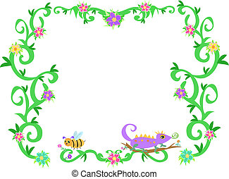 Frame of Tropical Vines, Bee, and Lizard